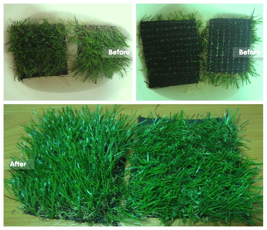 ทดสอบหญ้าเทียมขนาด 2.5-3.5 cm เมื่อโดนนํ้าขัง